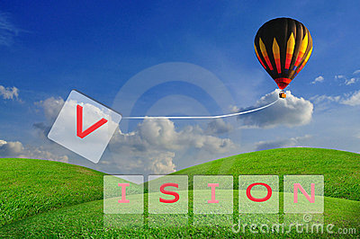Hot air balloon pull V from the word vision