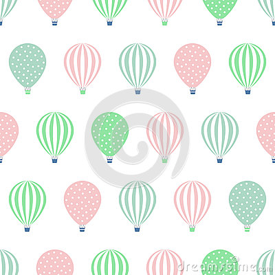 Free Hot Air Balloon Seamless Pattern. Baby Shower Vector Illustrations Isolated On White Background. Royalty Free Stock Images - 62348299