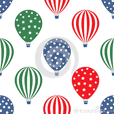 Free Hot Air Balloon Seamless Pattern. Bright Colors Hot Air Balloons Design. Stock Photos - 62348383