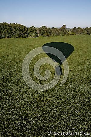 Hot air balloon shadow on field.
