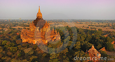Hot air balloon shadow on stupa,bagan,myanmar (bur