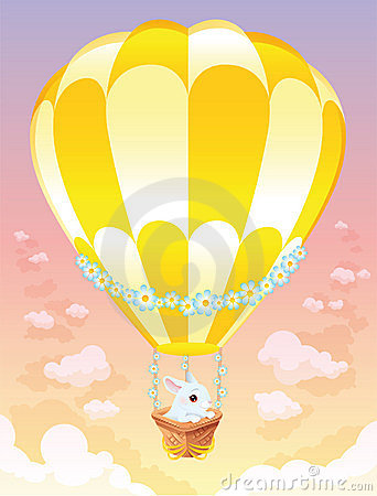 Hot air balloon with white bunny.