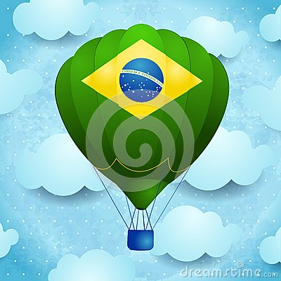 Free Hot Air Balloon With Brazilian Colors Royalty Free Stock Photo - 40514445