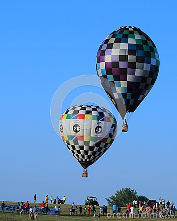 Hot Air Balloons Aloft in Blue Sky-Achievement Editorial Photography
