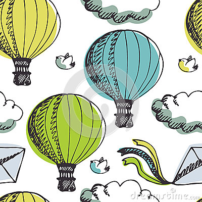 Free Hot Air Balloons And Birds Background Stock Photos - 35718813