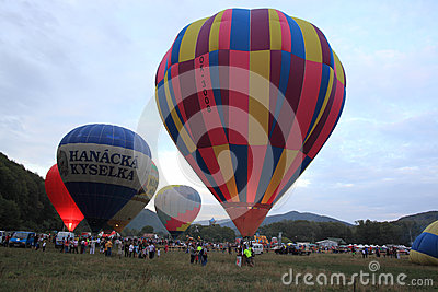 Hot air balloons in the evening Editorial Photo