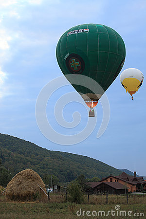 Hot Air Balloons in the evening sky Editorial Photo