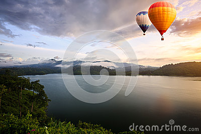 Hot air balloons floating