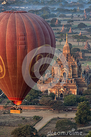 Hot Air Balloon - Bagan Temple - Myanmar (Burma) Editorial Stock Image