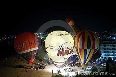 Hot air balloons night glow Editorial Photography