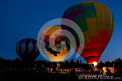 Hot Air Balloons Night Glow In Bend Oregon Editorial Stock Image