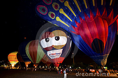 Hot air balloons night glow parade Editorial Stock Photo