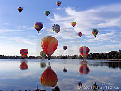 Hot Air Balloons Over Lake