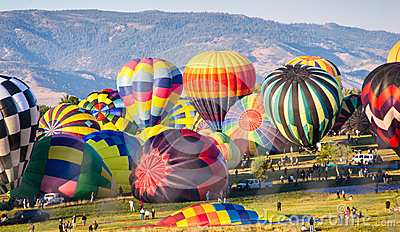 Hot Air Balloons Prepare for Lift-Off Editorial Stock Image