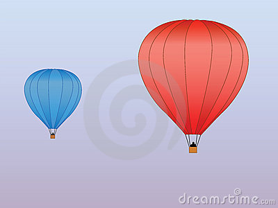 Hot air balloons red blue