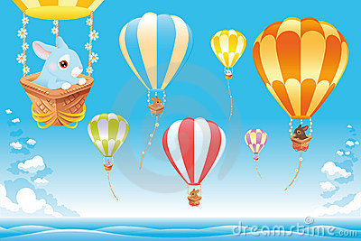 Hot air balloons in the sky on the sea with bunny.