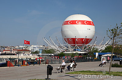 Hot air baloon in Istanbul Editorial Stock Photo