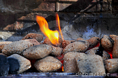Hot Barbecue coals on fire