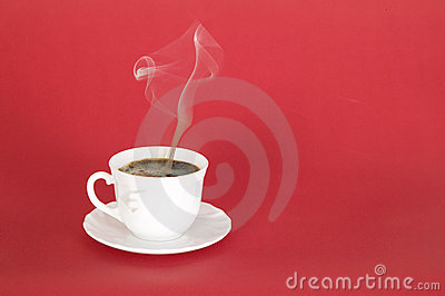 Hot black coffee with smoke