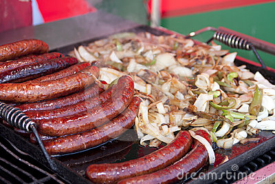 Hot Brats on the BBQ Grill