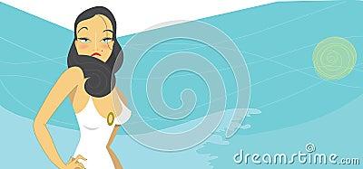 Hot brunette woman in white swimsuit