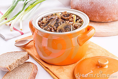 Hot Buckwheat with mushrooms