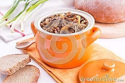 Hot Buckwheat with mushrooms
