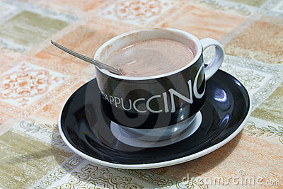 Hot cappuccino cup