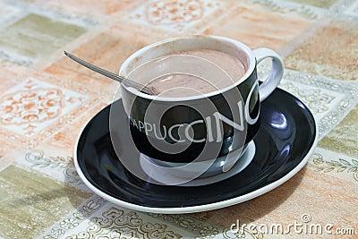Hot cappuccino cup