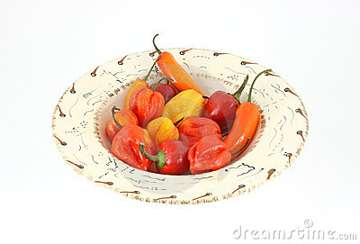 Hot chili peppers in bowl