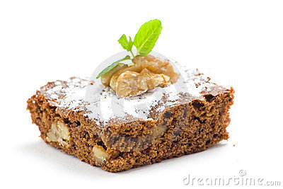 Hot chocolate brownie with walnuts and vanilla