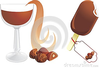 Hot chocolate with candies and ice cream