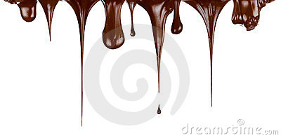 Hot chocolate streams dripping isolated