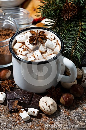 Free Hot Chocolate With Marshmallows And Sweets On Wooden Background Royalty Free Stock Photo - 103944225