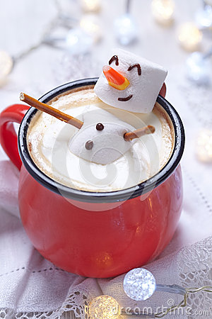 Free Hot Chocolate With Melted Snowman Royalty Free Stock Photography - 62395647