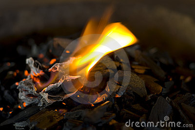 Hot coals with flame
