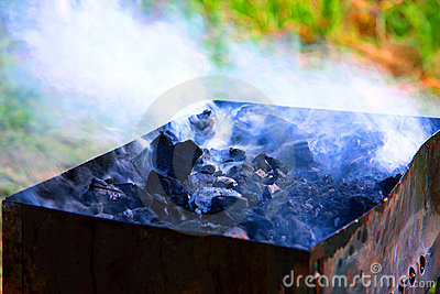 Hot coals with smoke