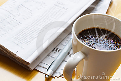 Hot coffee, ball-point and newspaper 3
