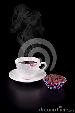 Free Hot Coffee Cup And Muffin Royalty Free Stock Image - 25891616