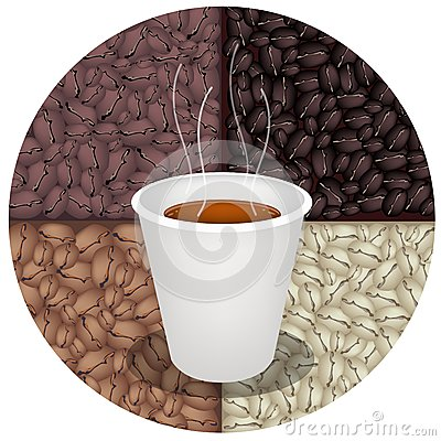 Hot Coffee in Disposable Cup on Coffee Beans Backg