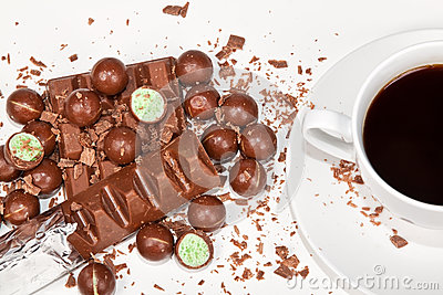 Hot coffee with lots of chocolates