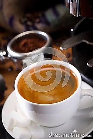 Hot coffee with machine