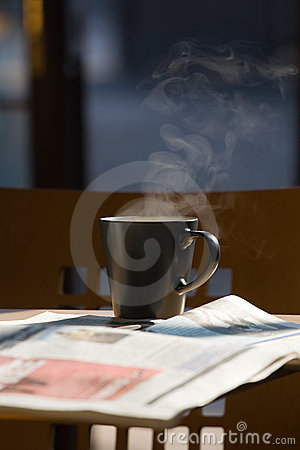 Hot coffee and newspapers