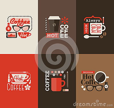 Free Hot Coffee. Set Of Vector Design Elements Royalty Free Stock Images - 36472929