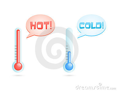Hot and cold temperature icons