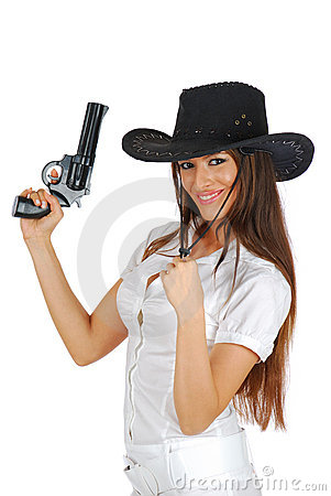 Hot cowgirl with the gun smiling
