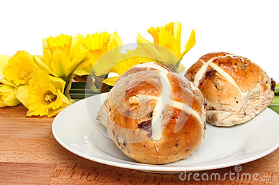 Hot Cross Buns And Daffodils Royalty Free Stock Image - Image ...