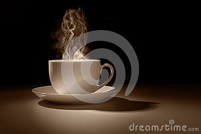 Hot cup of coffee or tea