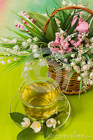 Free Hot Cup Of Green Tea Royalty Free Stock Image - 54856346