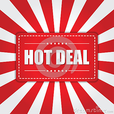 Free Hot Deal Banner With Sunburst Effect On White And Red Background Stock Image - 48578031